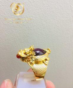 Nhẫn phong thủy ưlong quy Ruby vàng