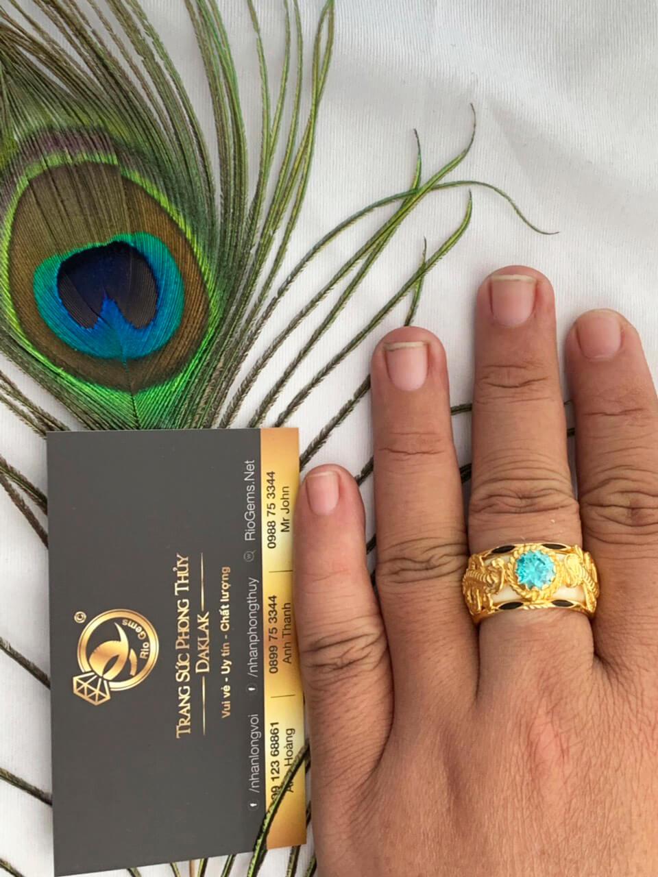 Nhẫn lông voi đẹp 2 Rắn hạt xanh lục chầu ngoc Cz Riogems