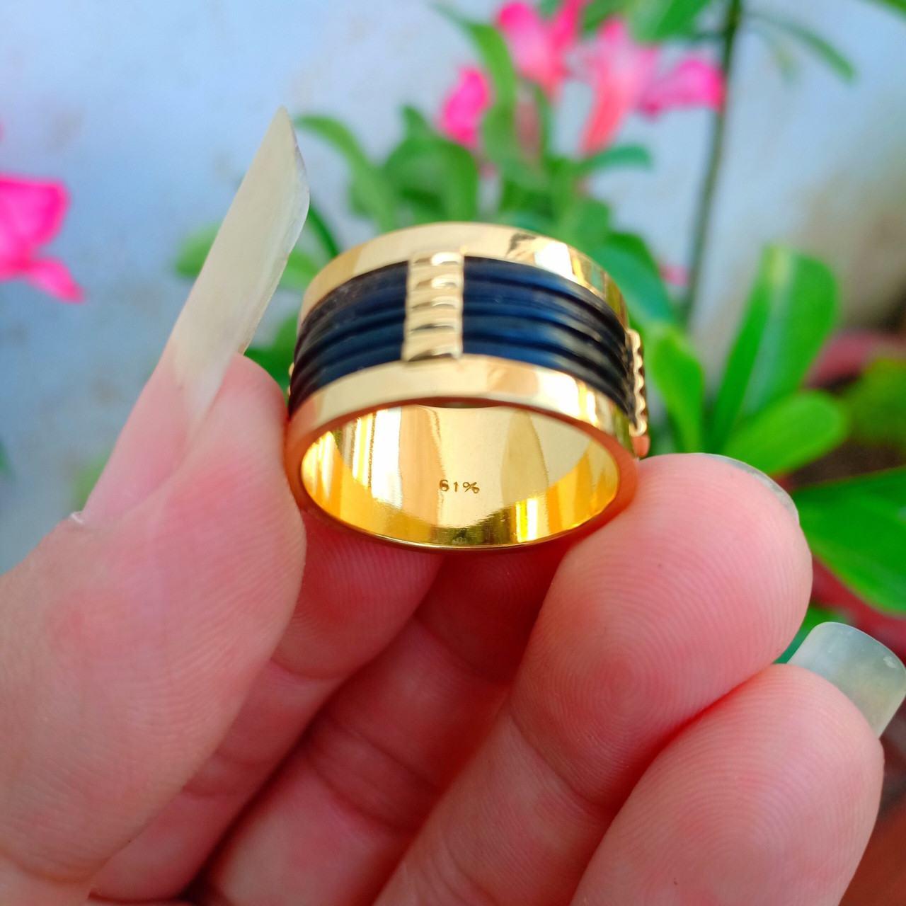 Nhẫn nam 5 đồng tiền giác lòng 3 đường lông - BẢNG 16 mm (lông FAKE)