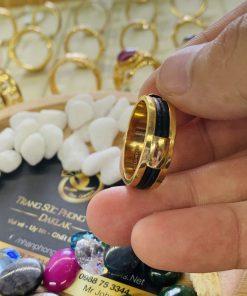 Nhẫn nam vàng 18K 2 sợi lông Riogems