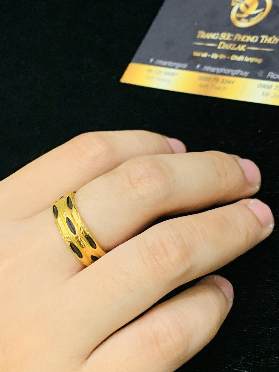 Nhẫn nam nữ 3 sợi so le vàng 18K (lông FAKE)