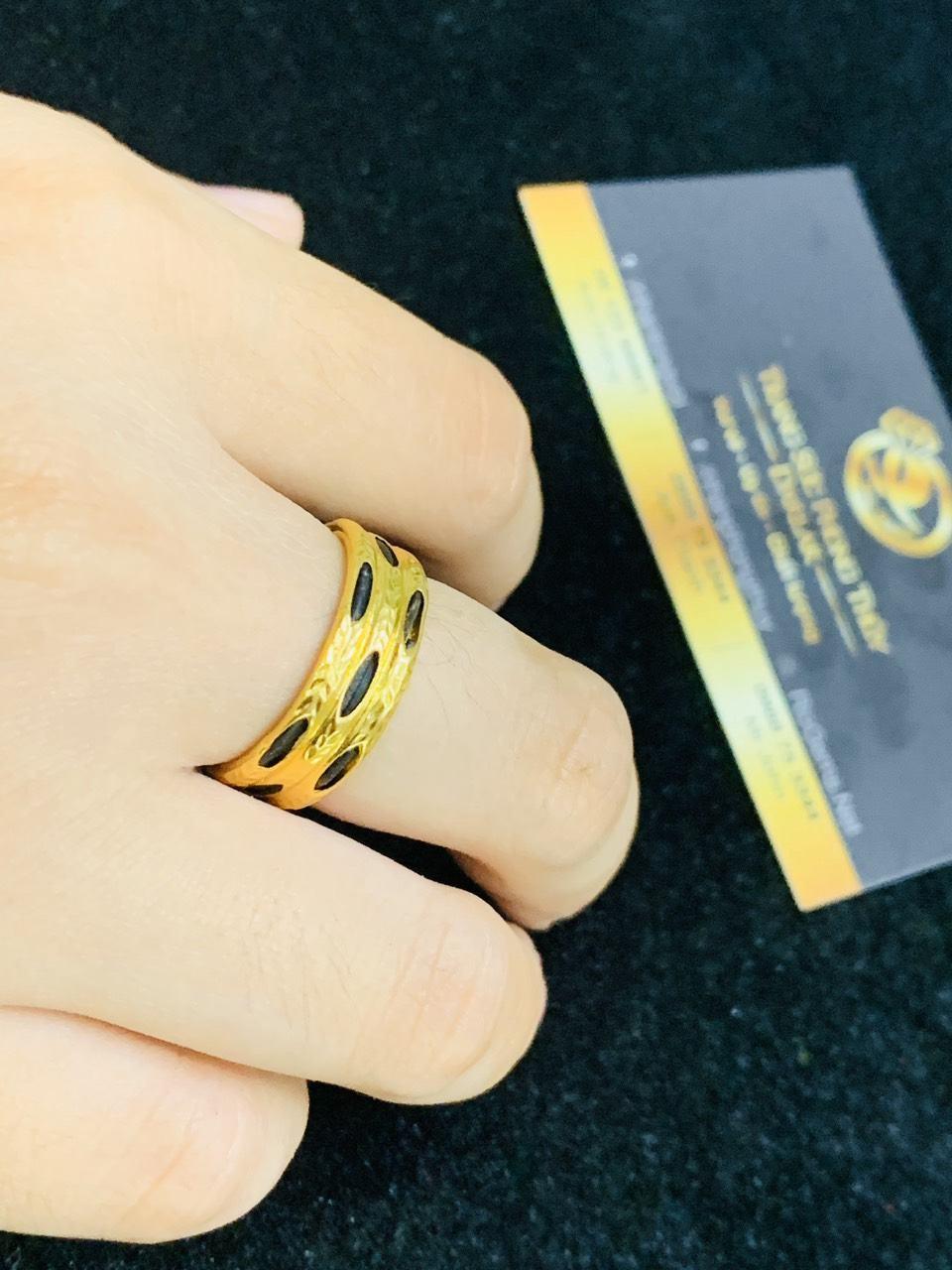 Nhẫn nam nữ 3 sợi so le vàng 18K