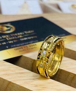 Nhẫn nam nữ đẹp 1 hàng đá 2 hàng lông Riogems phong thủy