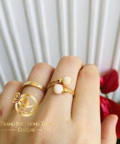 Nhẫn nữ vàng 18K đính 2 bạch ngọc Jadeite phong thủy