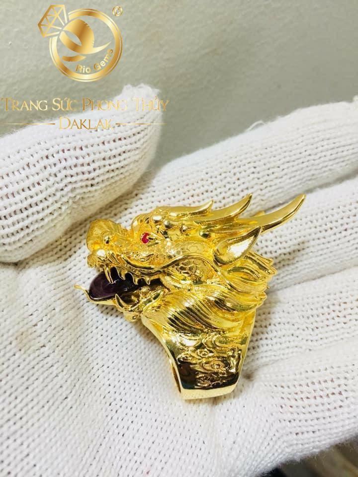 Nhẫn đầu rồng 3D PHÚ LÊ nguyên khối -2 cây vàng 18K610