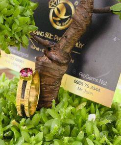 Nhẫn phong thủy hoa văn luồng 1 sợi lông voi