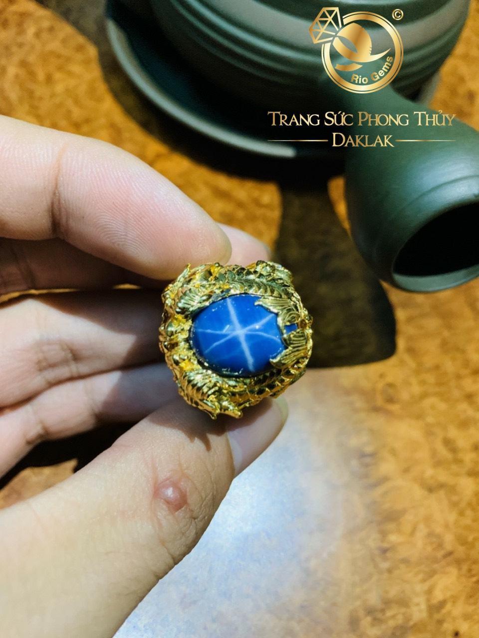 Nhẫn phong thủy Cá Chép hóa Rồng chầu ngọc Sapphire