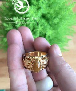 Nhẫn phong thủy rồng Thạch Anh vàng