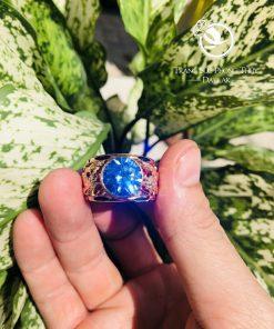 Nhẫn rồng rồng VÀNG 18K chầu ngọc Cz xanh dương