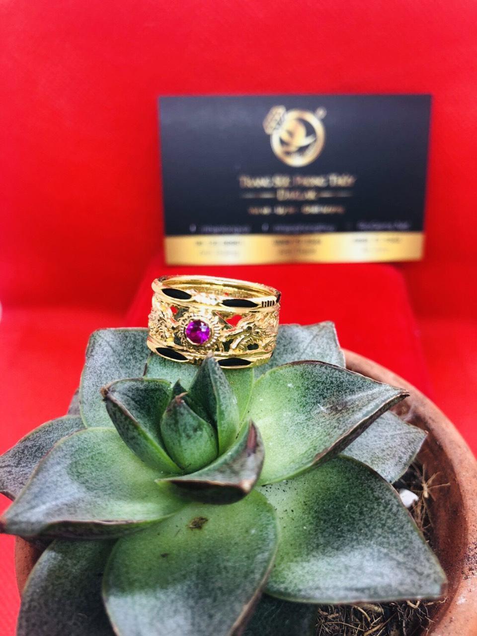 Nhẫn rồng rồng vàng 10K luồng 2 lông phong thủy (lông FAKE)