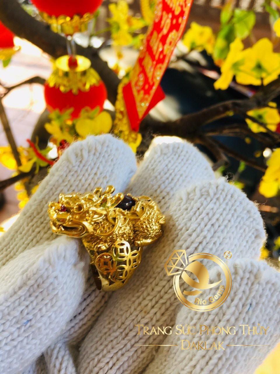 Nhẫn thiềm thừ vàng (cóc 3 chân) đính RUBY cho nam
