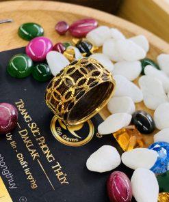Nhẫn trầm hương bọc 5 đồng tiền VÀNG 18K phong thủy