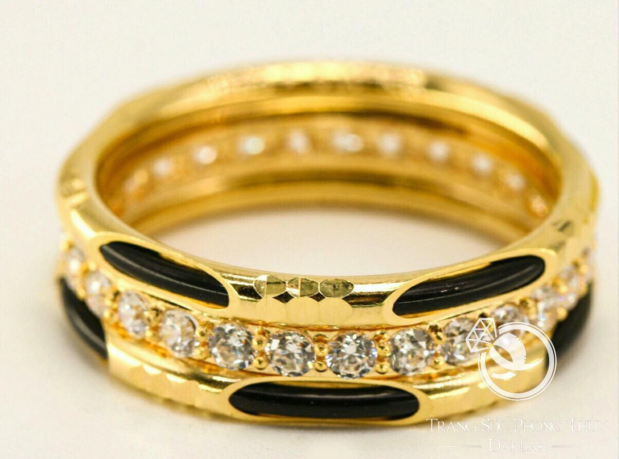 Nhẫn vàng 18K hợp nam nữ đính 2 hàng đá Cz chính gốc Daklak (lông FAKE)