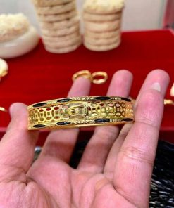 Vòng tay kim tiền vàng 18K phong thủy cực CAO luồng lông Bôn Đôn (lông FAKE)