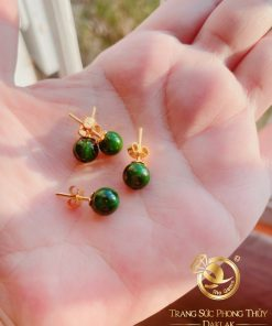 Bông tai ngọc Jade lên vàng phong thủy RIOGEMs được