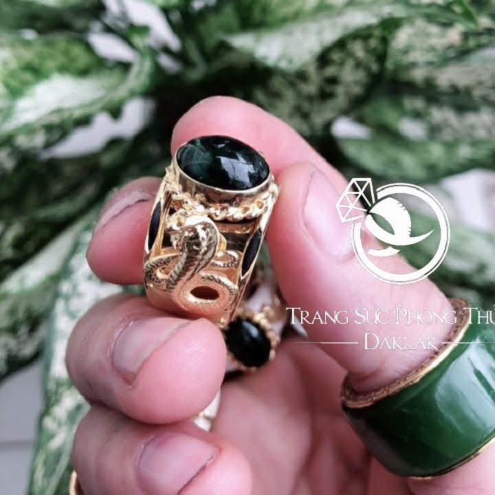 Nhẫn lông voi nam TPHCM rắn ngọc đen đẹp
