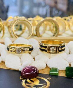 Nhẫn vàng đính Kim Cương 1 -2 lông làm tay Riogems