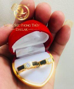 nhẫn lông voi đính đá