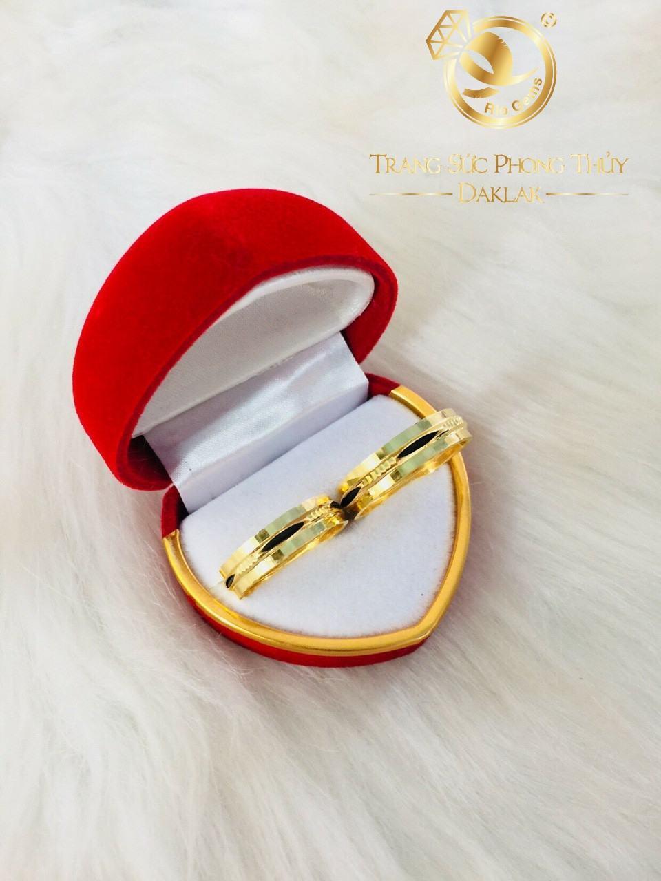 nhẫn lông voi 2 viền vàng