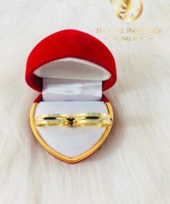 Nhẫn lông voi 2 viền vàng phong thủy