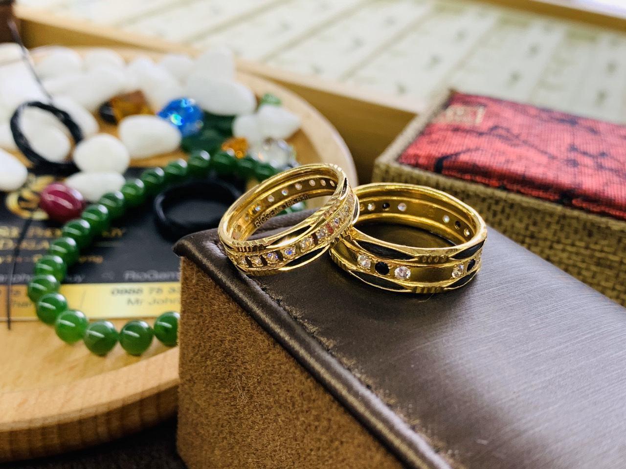 Cặp nhẫn lông voi đính đá vàng phong thủy