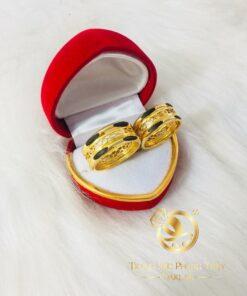 Nhẫn lông voi dích dắc chạy vàng đan chéo phong thủy RIOGEMS