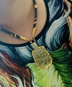 Dây chuyền da cá đuối đen bọc 2 rồng cuộn vàng phong thủy hợp nhiều mặt đeo khác nhau