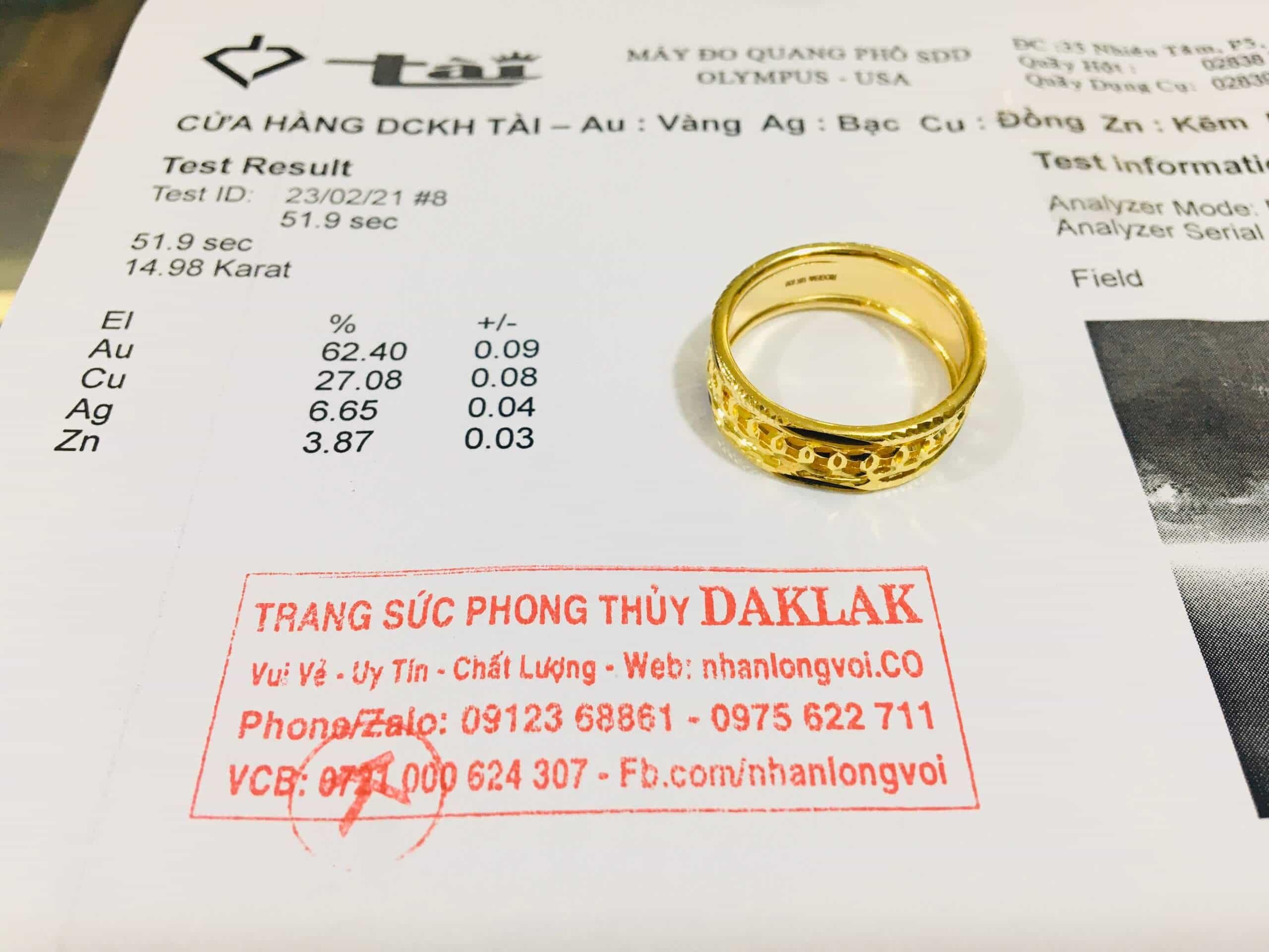 Nhẫn kim tiền vàng18K