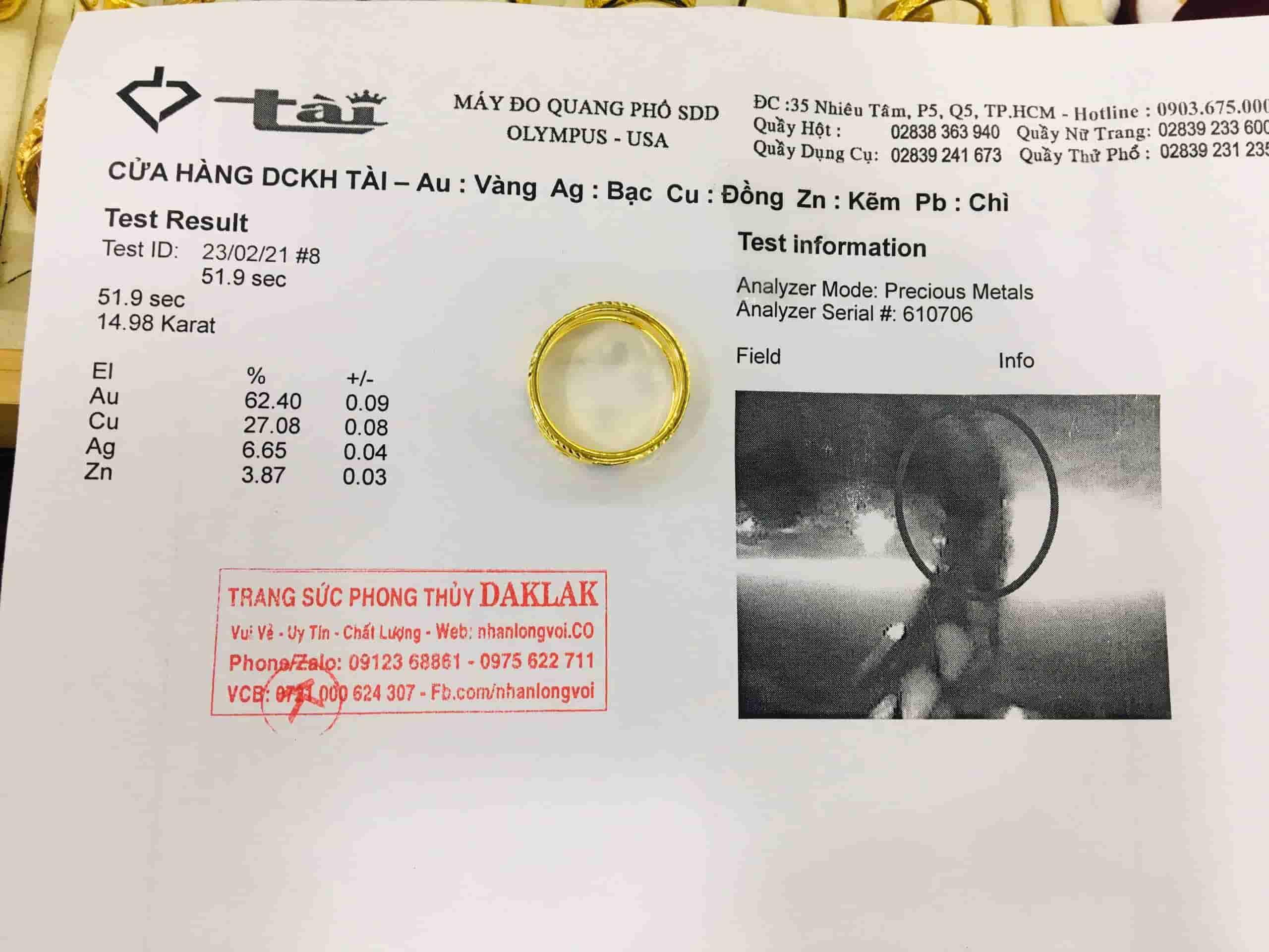 Giấy phổ tuổi vàng nhẫn vàng nhẫn kim tiền vàng 18K