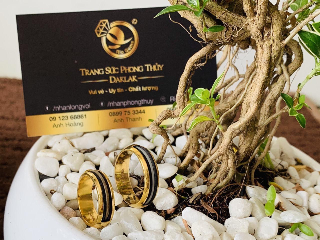 Cặp nhẫn cưới lông voi trắng 3 sợi phong thủy