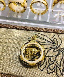 Mặt dây chuyền vàng 12 con giáp với thiết kế vòng bạch ngọc bọc vàng 18K xỏ lông Voi độc đáo