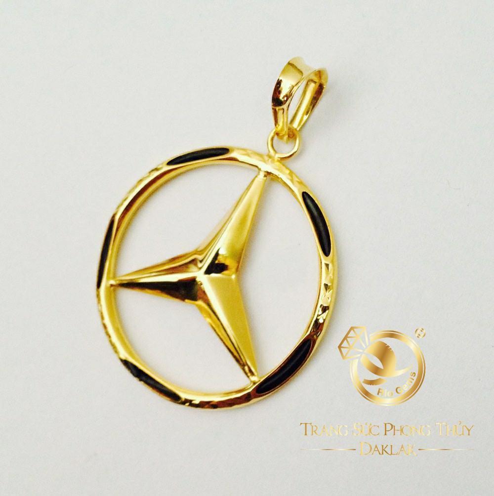 Mặt dây ngôi sao vàng phong thủy RIOGEMs hình tròn với ngôi sao 3 cánh luồng lông Voi