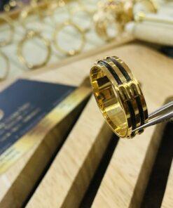 Nhẫn lông voi làm tay 2 sợi ngoài 2 thành vàng bảng 8li phong thủy
