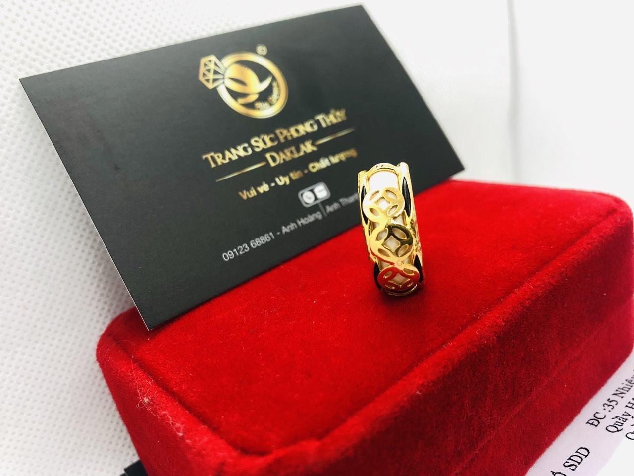 Nhẫn phong thủy 3 đồng tiền VÀNG 18K cho nữ