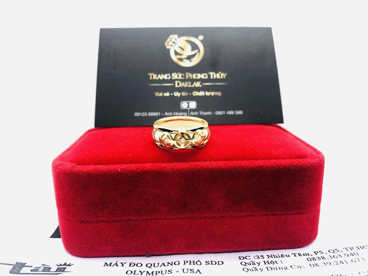 Nhẫn phong thủy 3 đồng tiền VÀNG 18K gia công đẹp