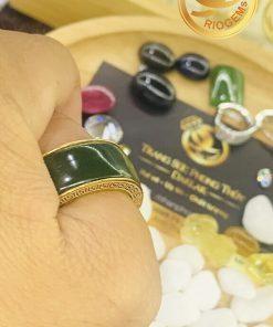 Nhẫn tài Lộc 3 đồng tiền đá ngọc bích đeo ngón cái