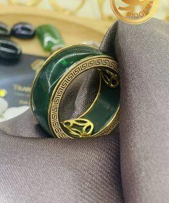 Nhẫn tài Lộc 3 đồng tiền đá xanh lục đẹp