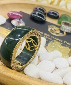 Nhẫn tài Lộc 3 đồng tiền đá phong thủy