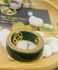 Nhẫn tài Lộc 3 đồng tiền đá ngọc bích