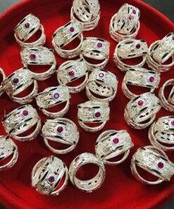 nhẫn bạc lông voi đính đá hợp mệnh Thủy - Kim Riogems