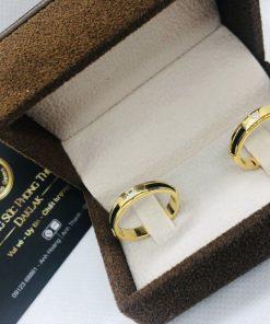 Nhẫn cặp lông voi làm tay đính đá mang đến hạnh phúc vàng