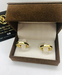 Nhẫn cặp nam nữ làm tay vàng 18K đính đá Cz luồng 1 lông voi RIOGEMs giá rẻ
