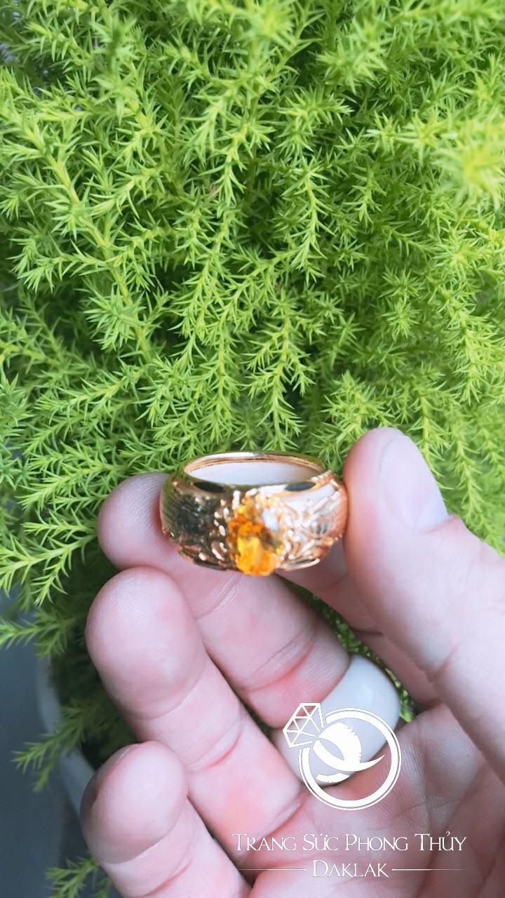 Nhẫn nam 2 CÁ CHÉP đá vàng phong thủy chất