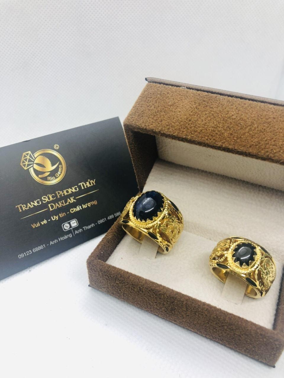 Nhẫn cưới lông voi phong thủy Rồng Rồng Riogems