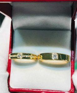 Nhẫn đính hôn vàng 18K đính đá Cz hợp mệnh cặp đôi có bản to, nhỏ dành riêng cho nam, nữ