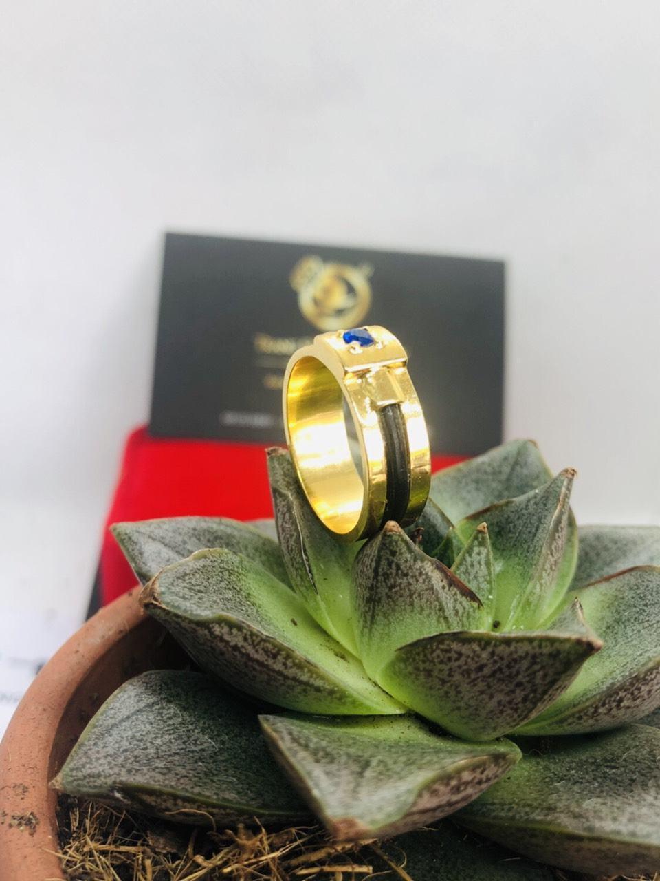 Nhẫn nam vàng mặt đá vuông Tourmaline xanh dương