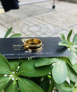 Nhẫn nam vàng mặt đá vuông Tourmaline xanh dương chất lượng