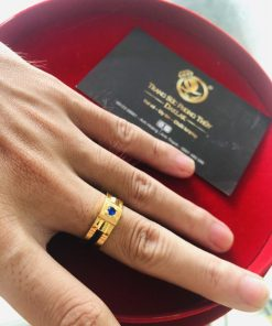 Nhẫn nam vàng mặt đá vuông Tourmaline xanh dương phong thủy