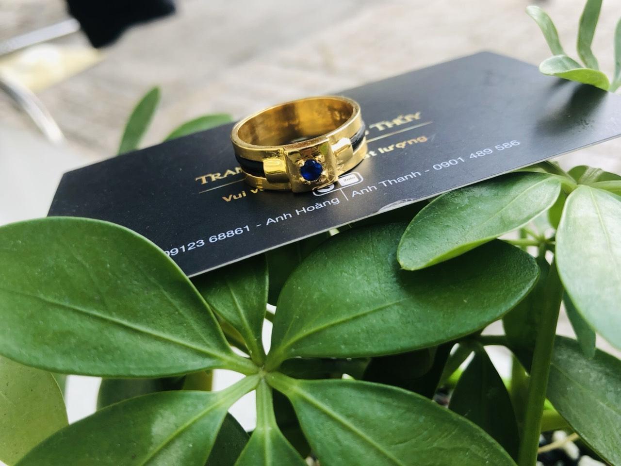Nhẫn nam vàng mặt đá vuông Tourmaline