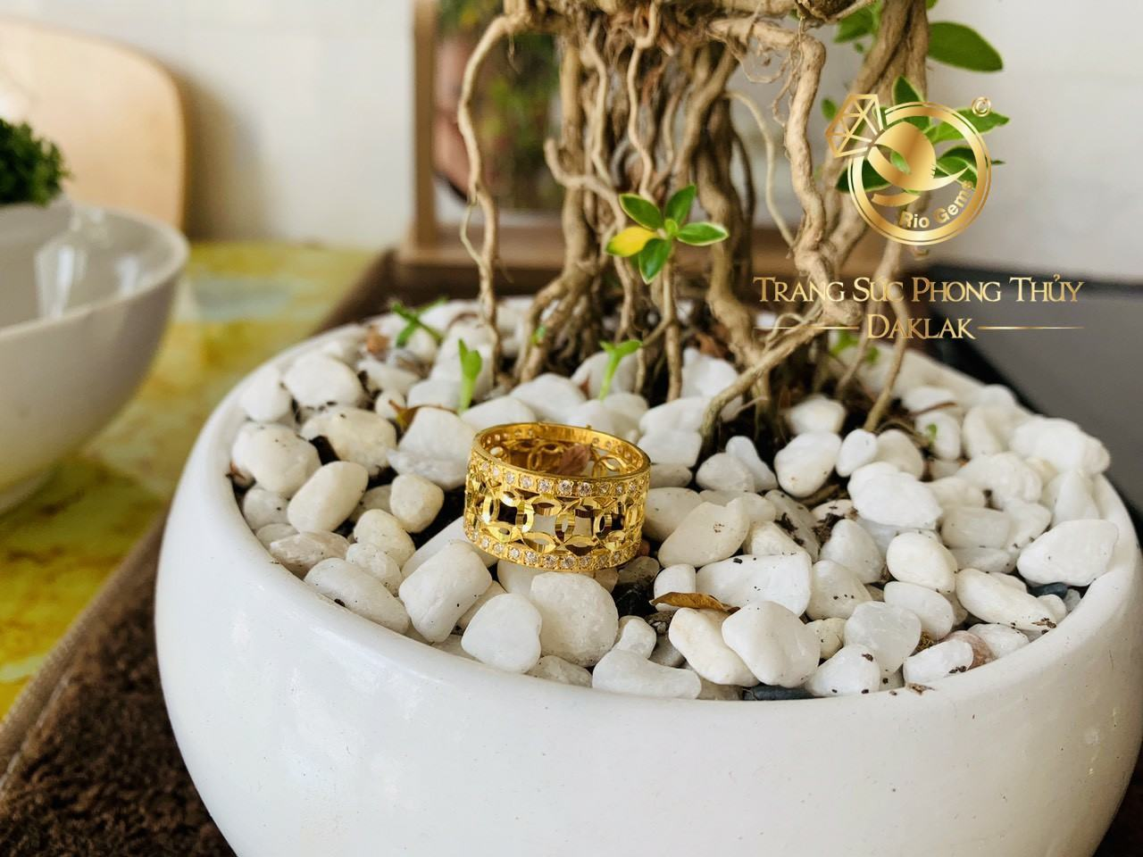 Nhẫn kim tiền chạy 2 hàng đá tấm trắng vàng 18K Riogems